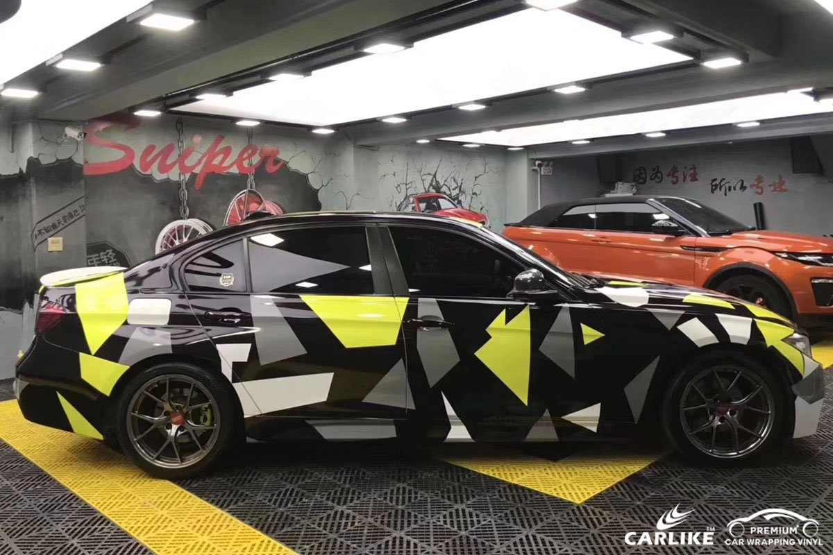 CARLIKE卡莱克™CL-CA宝马黄黑灰迷彩喷绘涂鸦整车改色贴膜