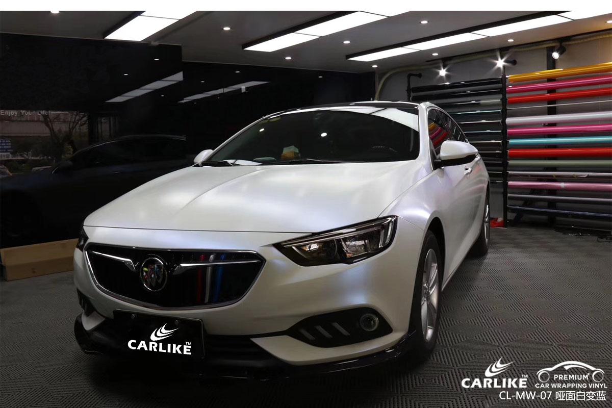 珠光幻彩哑面白变蓝汽车改色膜贴车效果图