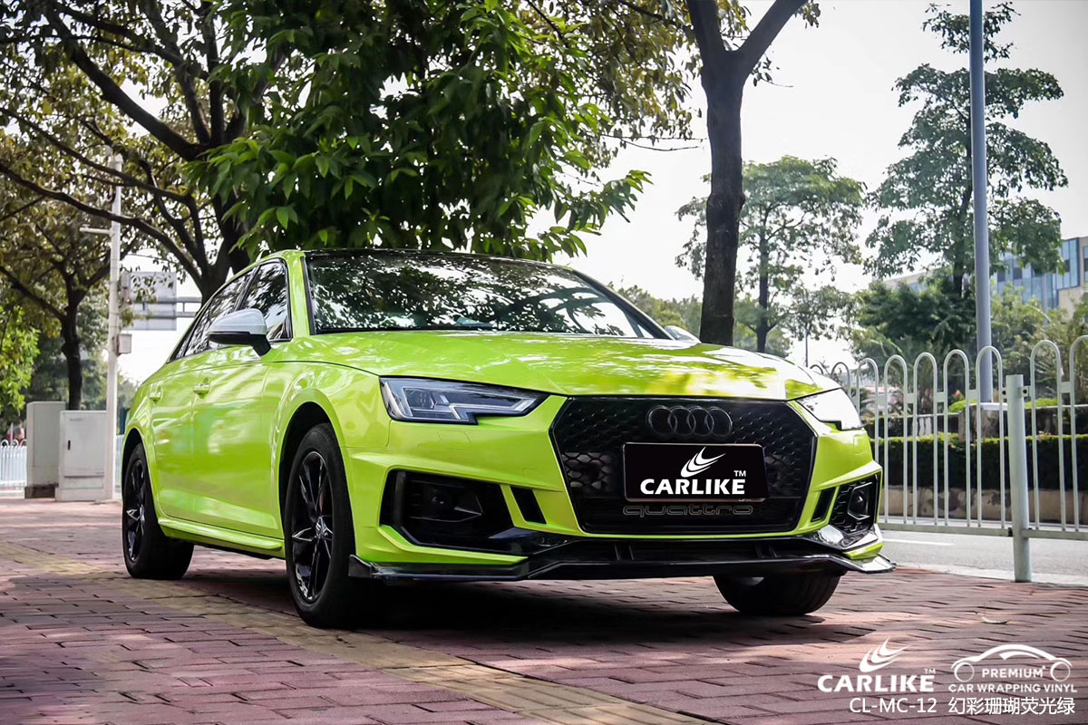 幻彩珊瑚荧光绿改色膜贴车效果图