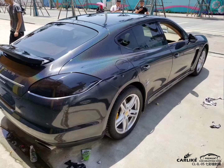 西安保时捷Panamera整车改色七彩镭射黑车身贴膜效果图