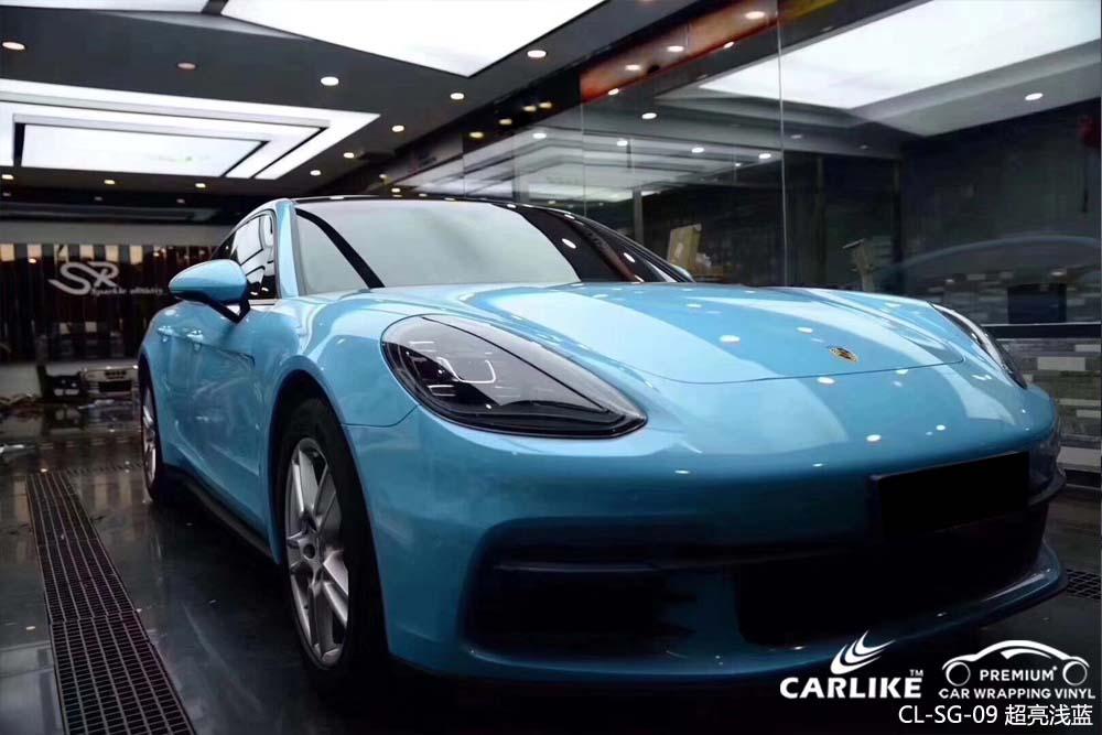 超亮浅蓝汽车改色膜贴车效果图