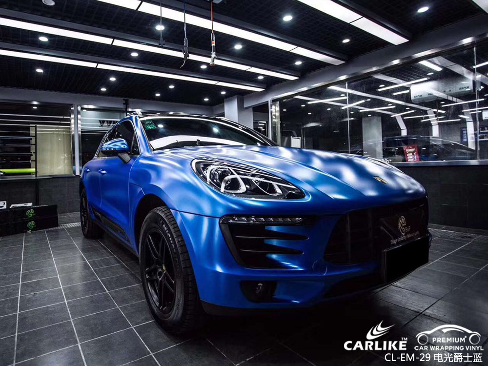 卡莱克电光爵士蓝汽车改色贴车效果图