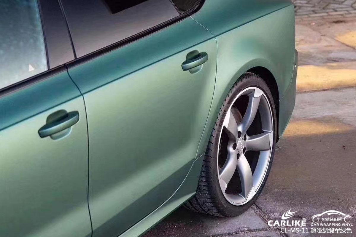 超哑绸缎军绿色汽车改色膜贴车效果图