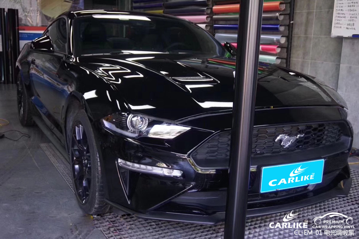 CARLIKE卡莱克™CL-EM-01野马金属电光绸缎黑汽车改色膜