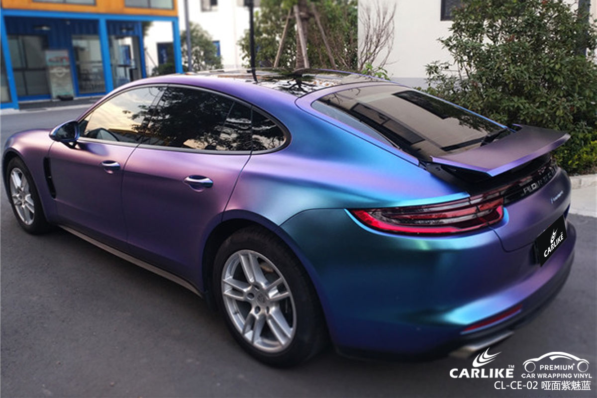 CARLIKE卡莱克™CL-CE-02保时捷电光钻石紫魅蓝整车改色贴膜