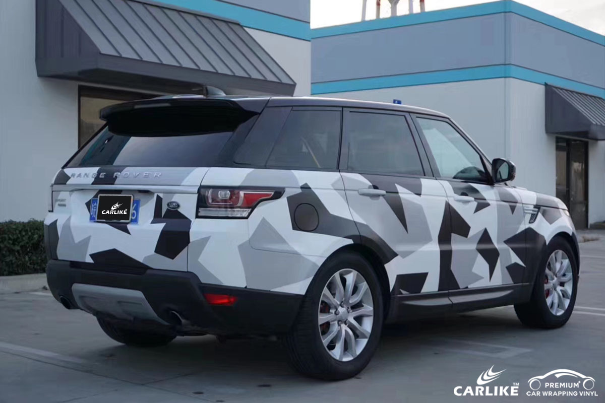 CARLIKE卡莱克™CL-CA路虎黑白迷彩喷绘涂鸦汽车改色膜