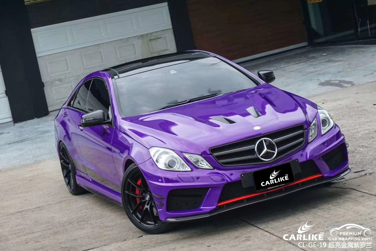 广州车主奥迪超亮金属紫罗兰汽车改色贴膜施工图