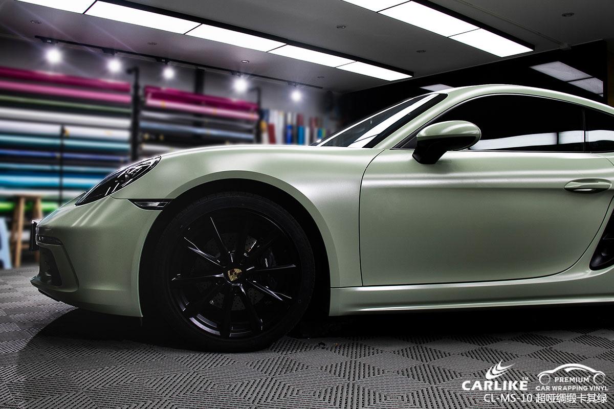 超哑绸缎卡其绿汽车改色膜贴车效果图