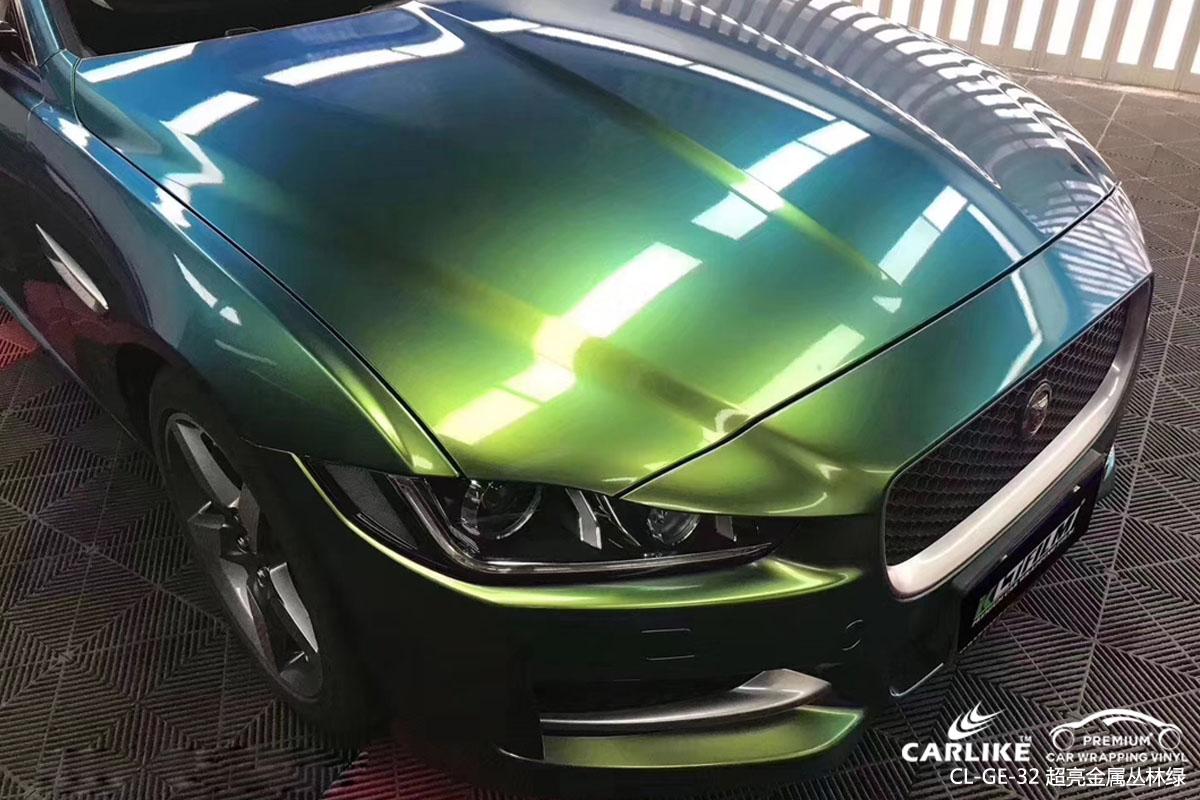 太原捷豹XE车身改色超亮金属丛林绿汽车贴膜效果图