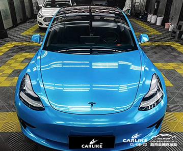 包头特斯拉车身改色超亮金属亮丽蓝汽车贴膜效果图