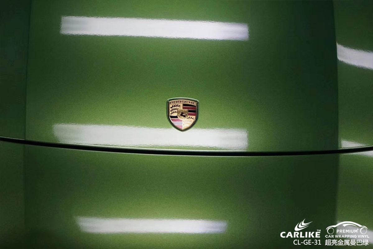 烟台保时捷Panamera整车贴膜超亮金属曼巴绿车身改色效果图