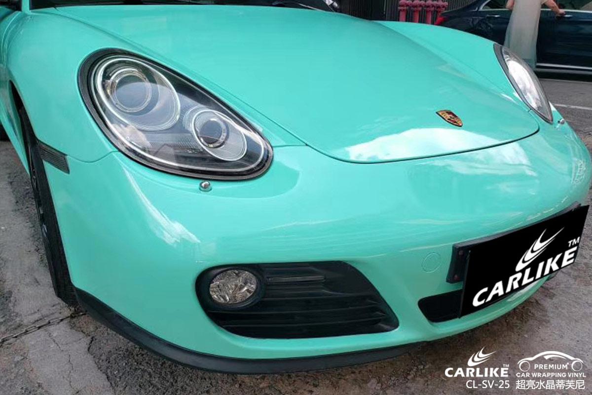 内江保时捷Cayman车身贴膜超亮金蒂芙尼车改色贴车图