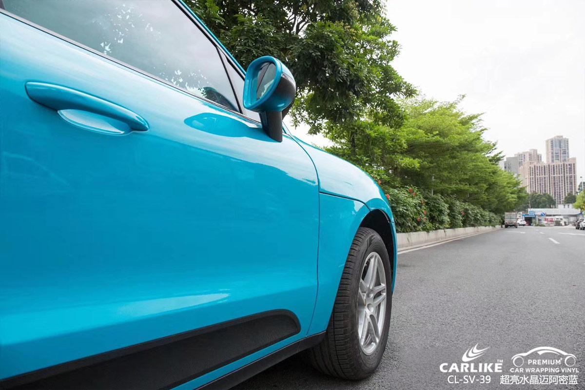 铁岭保时捷Macan汽车改色超亮水晶迈阿密蓝车身贴膜效果图