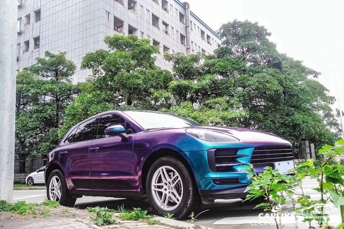 聊城保时捷Macan汽车贴膜亮面流光变色龙紫魅蓝车身改色效果图