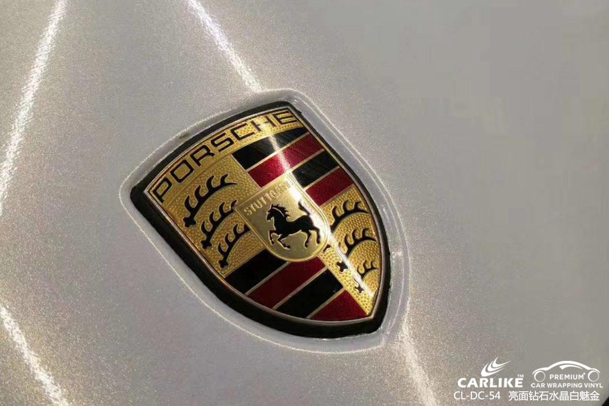怀化保时捷Panamera车身改色亮面钻石水晶白魅金汽车贴膜施工图