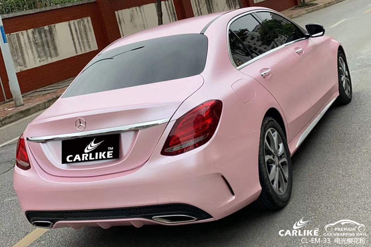 广州卡莱克车身改色奔驰c级电光樱花粉全车贴膜效果图