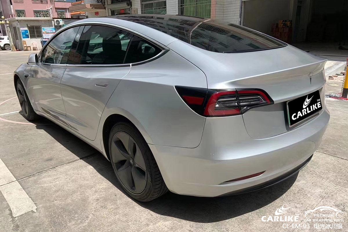 惠州特斯拉全车贴膜电光冰川银车身改色贴车效果图