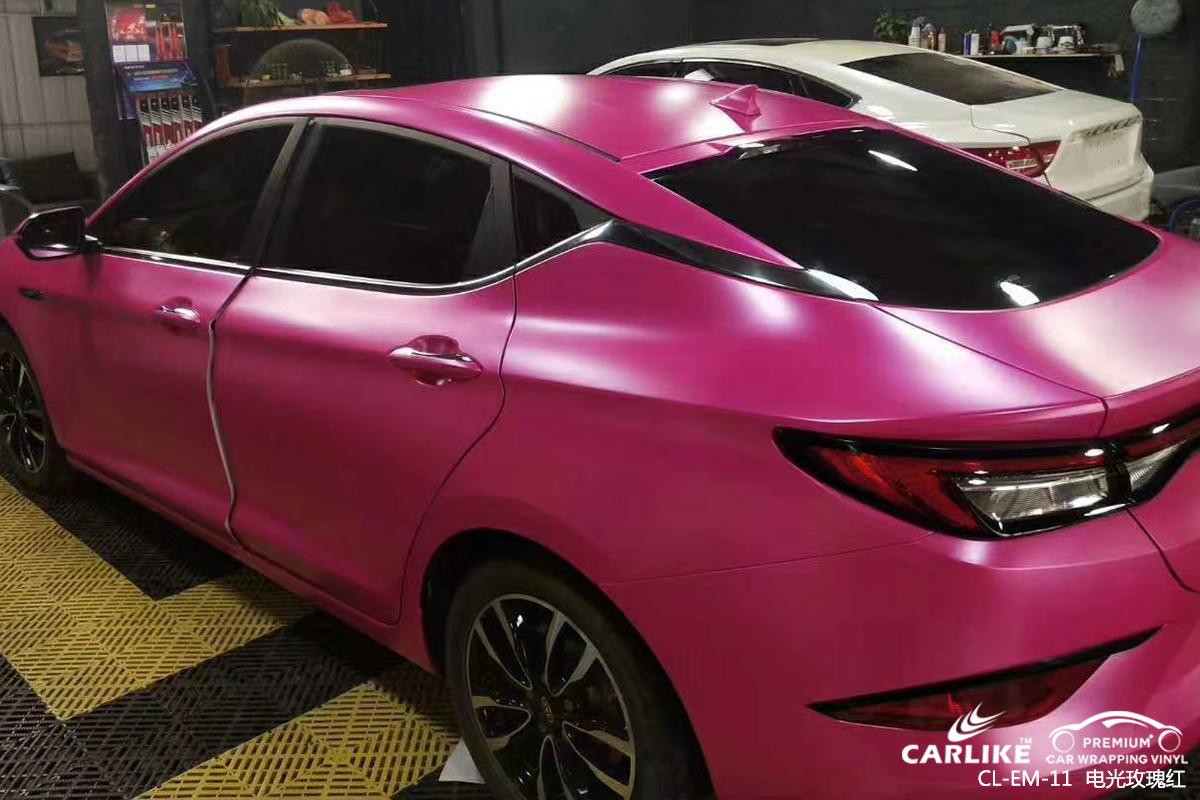 宝山起亚车身改色电光玫瑰红汽车贴膜贴车效果图