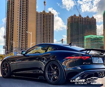 苏州捷豹F-TYPE车身贴膜电镀镜面黑车身改色贴车效果图