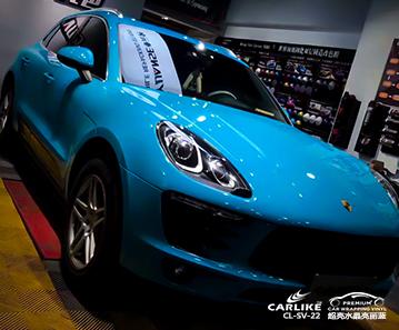 咸阳保时捷Macan全车改色超亮水晶亮丽蓝汽车贴膜贴车效果图