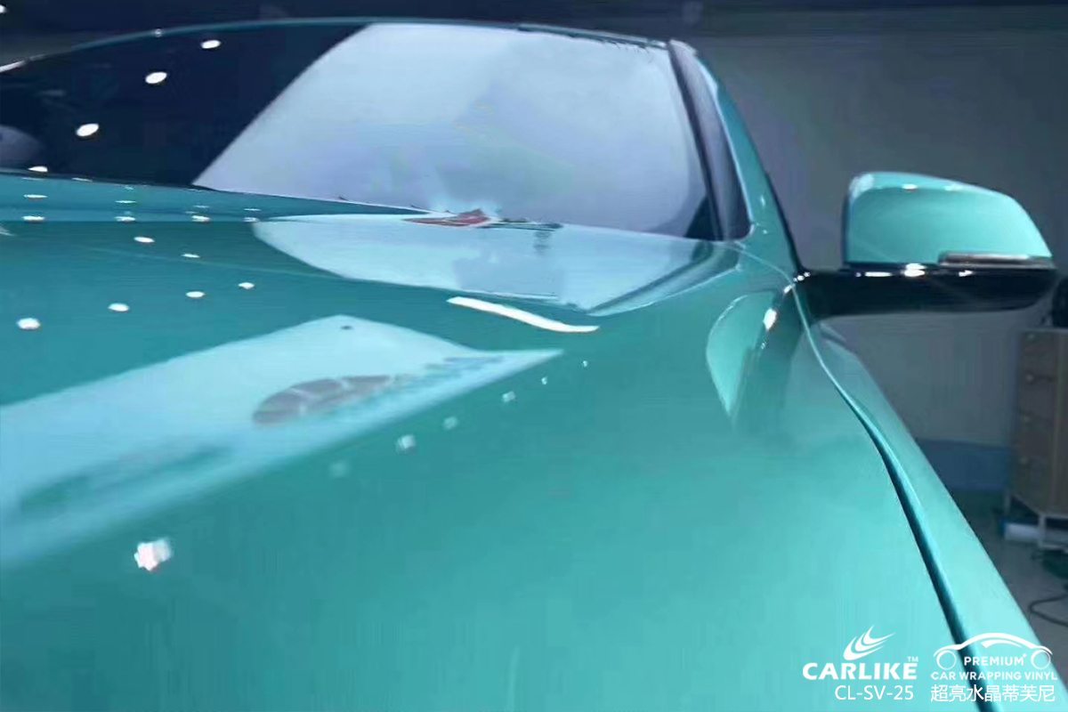 衡水宝马3系全车改色超亮水晶蒂芙尼汽车贴膜效果图