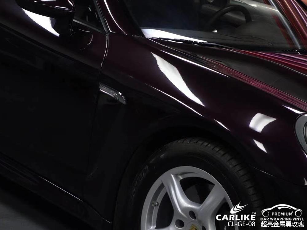 嘉兴保时捷Panamera全车贴膜超亮金属黑玫瑰汽车改色施工效果图