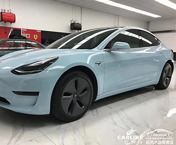 CARLIKE卡莱克™CL-SV-19特斯拉超亮金属青雾蓝整车贴膜