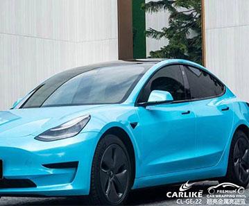 CARLIKE卡莱克™CL-GE-22特斯拉超亮金属亮丽蓝整车改色