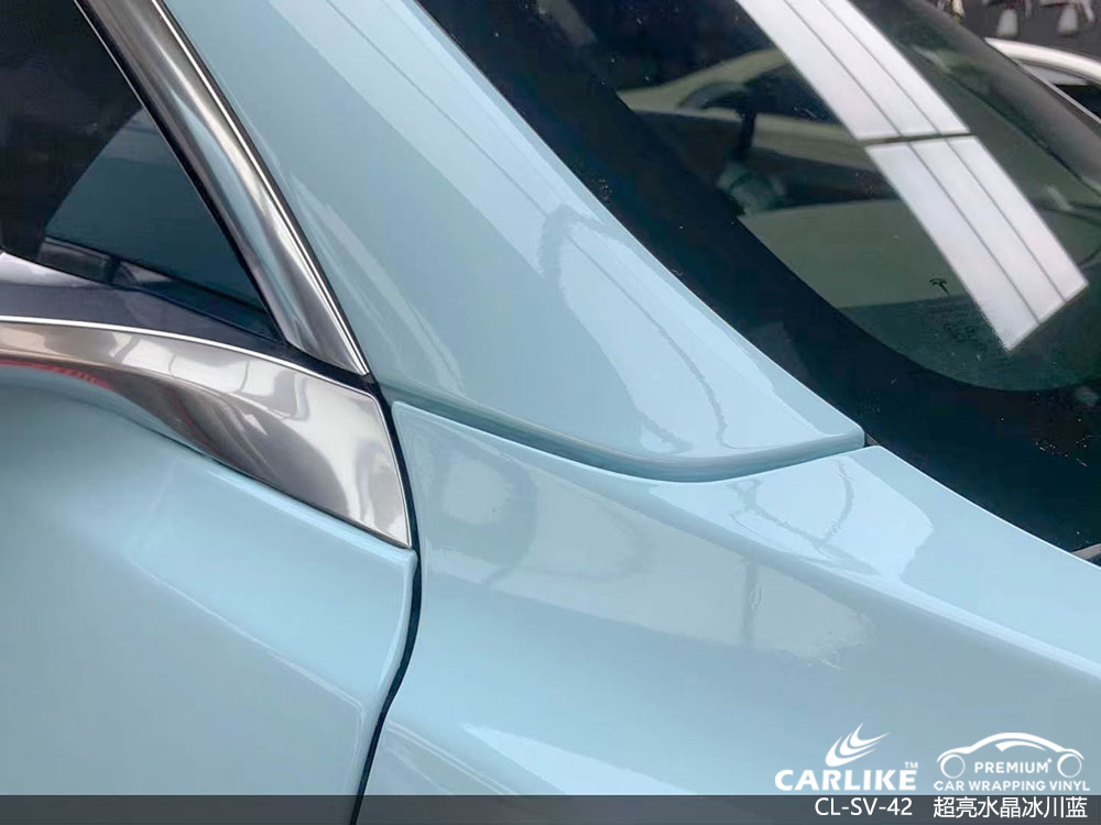 CARLIKE卡莱克™CL-SV-42特斯拉超亮水晶冰晶蓝全车贴膜效果图